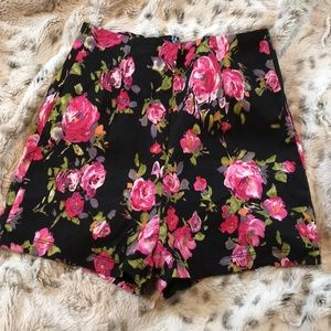 Tight High Waisted Black Floral Shorts